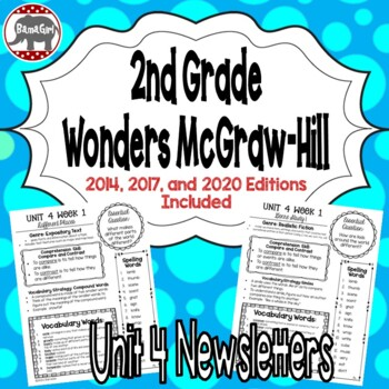 Wonders McGraw Hill 2nd Grade Newsletter/Study Guide - Unit 4 (Weeks 1-5)