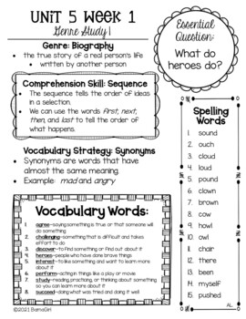 Wonders McGraw Hill 2nd Grade Newsletter/Study Guide - Unit 5 (Weeks 1-5)