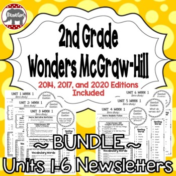 Wonders McGraw Hill 2nd Grade Newsletter/Study Guide - Units 1-6 **Bundle**
