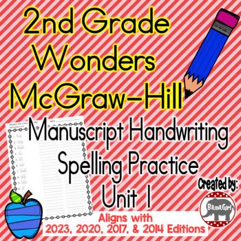 Wonders McGraw Hill 2nd Grade Spelling Manuscript Handwriting Practice - Unit 1