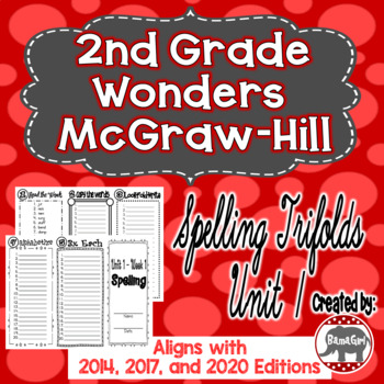 Wonders McGraw Hill 2nd Grade Spelling Trifolds - Unit 1