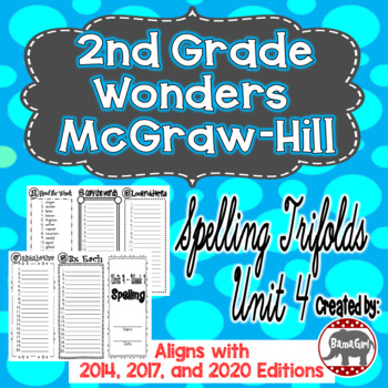Wonders McGraw Hill 2nd Grade Spelling Trifolds - Unit 4