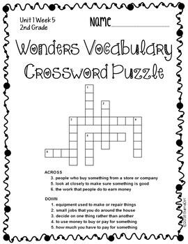 Wonders McGraw Hill 2nd Grade Vocabulary Crossword Puzzles - Unit 1