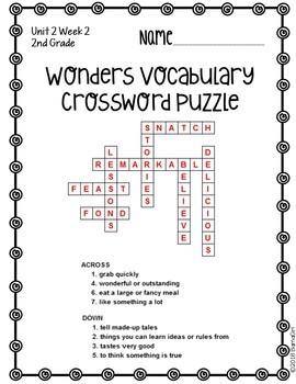 Wonders McGraw Hill 2nd Grade Vocabulary Crossword Puzzles - Unit 2
