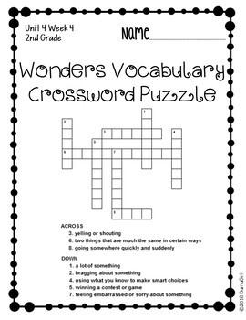 Wonders McGraw Hill 2nd Grade Vocabulary Crossword Puzzles - Unit 4