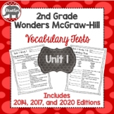 Wonders 2020, 2017, 2014 McGraw Hill 2nd Grade Vocabulary Tests - Unit 1
