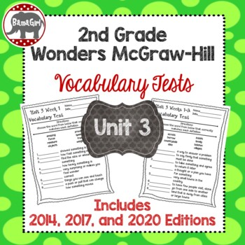 Wonders McGraw Hill 2nd Grade Vocabulary Tests - Unit 3