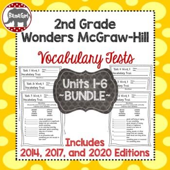 Wonders McGraw Hill 2nd Grade Vocabulary Tests - Units 1-6 **Bundle**