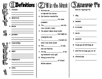 Wonders McGraw Hill 2nd Grade Vocabulary Trifold - Unit 5