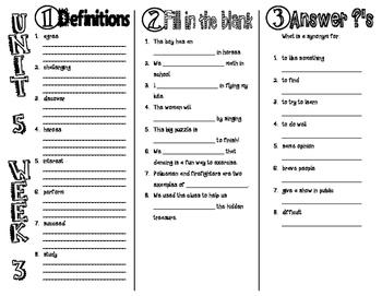 Wonders McGraw Hill 2nd Grade Vocabulary Trifold - Unit 5