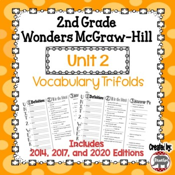 Wonders McGraw Hill 2nd Grade Vocabulary Trifold - Unit 2