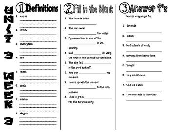 Wonders McGraw Hill 2nd Grade Vocabulary Trifold - Unit 3