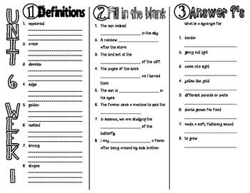 Wonders McGraw Hill 2nd Grade Vocabulary Trifold - Unit 6