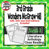 Wonders McGraw Hill 3rd Grade Close Reading (Literature Anthology Book) - Unit 3
