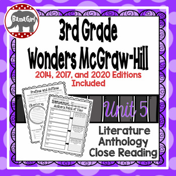 Wonders McGraw Hill 3rd Grade Close Reading (Literature Anthology Book) - Unit 5