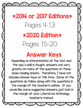 Wonders McGraw Hill 3rd Grade Close Reading Literature Anthology Unit 1-6 Bundle