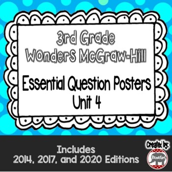 Wonders McGraw Hill 3rd Grade Essential Question Posters - Unit 4