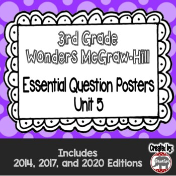 Wonders McGraw Hill 3rd Grade Essential Question Posters - Unit 5