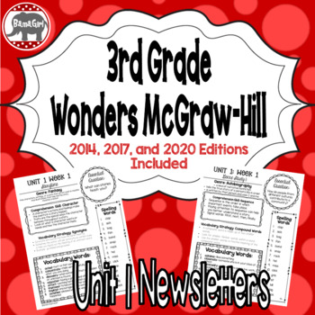 Wonders McGraw Hill 3rd Grade Newsletter/Study Guide - Unit 1 (Weeks 1-5)