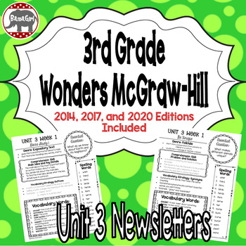 Wonders McGraw Hill 3rd Grade Newsletter/Study Guide - Unit 3 (Weeks 1-5)