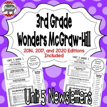 Wonders McGraw Hill 3rd Grade Newsletter/Study Guide - Unit 5 (Weeks 1-5)