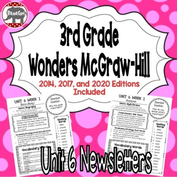 Wonders McGraw Hill 3rd Grade Newsletter/Study Guide - Unit 6 (Weeks 1-5)