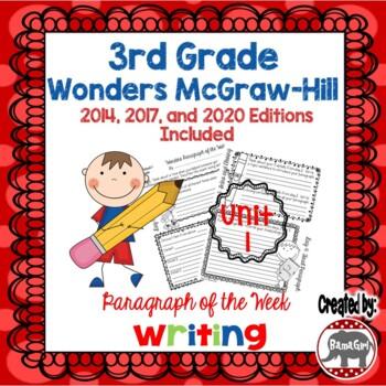 Wonders McGraw Hill 3rd Grade Paragraph of the Week - Unit 1