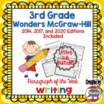 Wonders McGraw Hill 3rd Grade Paragraph of the Week - Units 1-6 Bundle