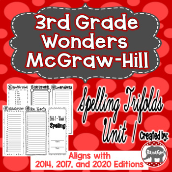 Wonders McGraw Hill 3rd Grade Spelling Trifolds - Unit 1