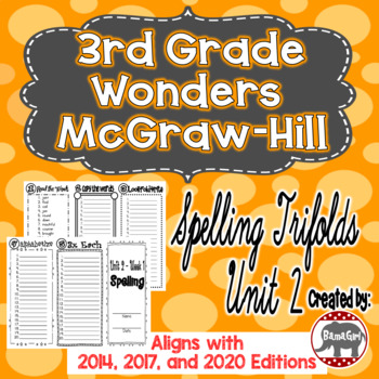 Wonders McGraw Hill 3rd Grade Spelling Trifolds - Unit 2