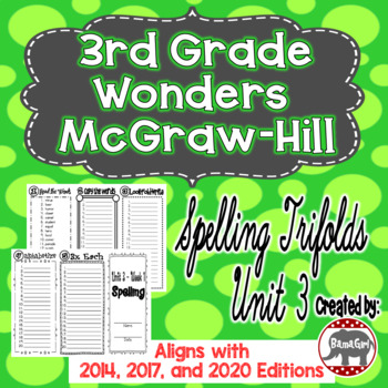 Wonders McGraw Hill 3rd Grade Spelling Trifolds - Unit 3