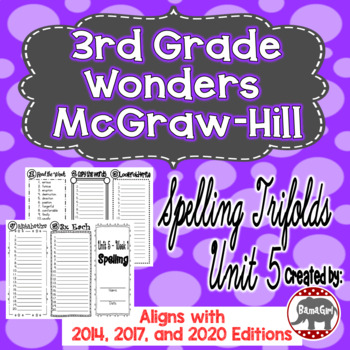 Wonders McGraw Hill 3rd Grade Spelling Trifolds - Unit 5