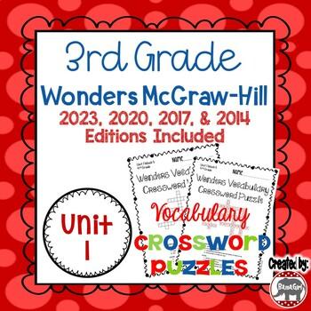 Wonders McGraw Hill 3rd Grade Vocabulary Crossword Puzzles - Unit 1