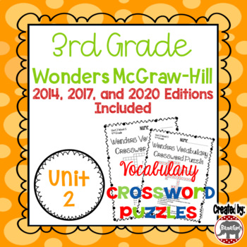 Wonders McGraw Hill 3rd Grade Vocabulary Crossword Puzzles - Unit 2