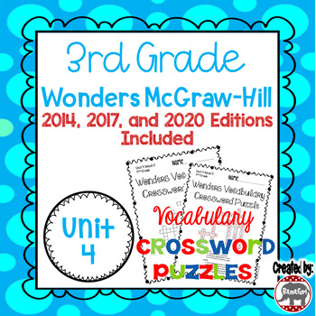 Wonders McGraw Hill 3rd Grade Vocabulary Crossword Puzzles - Unit 4