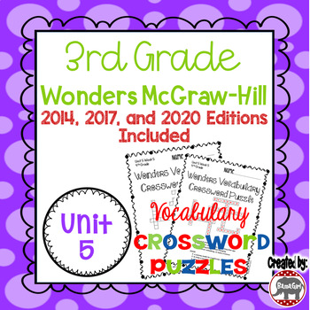 Wonders McGraw Hill 3rd Grade Vocabulary Crossword Puzzles - Unit 5