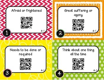 Wonders McGraw Hill 3rd Grade Vocabulary QR Code Flashcards - Unit 6