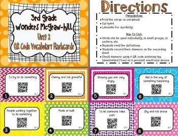 Wonders McGraw Hill 3rd Grade Vocabulary QR Code Flashcards - Units 1-6 *Bundle*