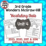 Wonders McGraw Hill 3rd Grade Vocabulary Tests - Unit 4