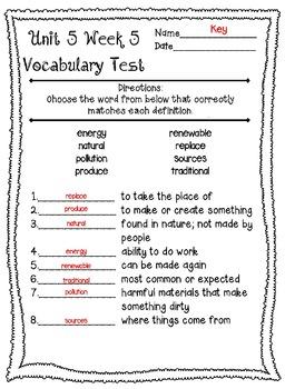 Wonders McGraw Hill 3rd Grade Vocabulary Tests - Unit 5