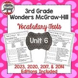 Wonders McGraw Hill 3rd Grade Vocabulary Tests - Unit 6