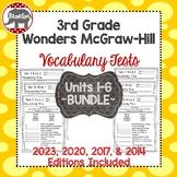 Wonders McGraw Hill 3rd Grade Vocabulary Tests - Units 1-6 **Bundle**