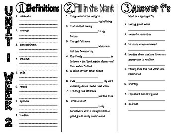 Wonders McGraw Hill 3rd Grade Vocabulary Trifold - Unit 1