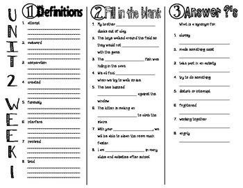 Wonders McGraw Hill 3rd Grade Vocabulary Trifold - Unit 2