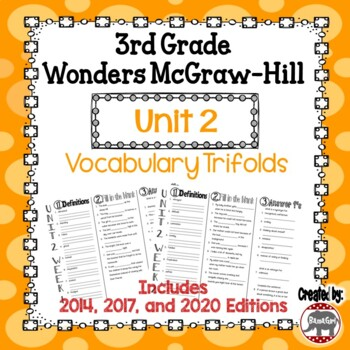 Wonders McGraw Hill 3rd Grade Vocabulary Trifold - Unit 2