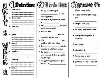 Wonders McGraw Hill 3rd Grade Vocabulary Trifold - Unit 5