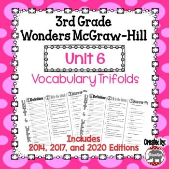 Wonders McGraw Hill 3rd Grade Vocabulary Trifold - Unit 6