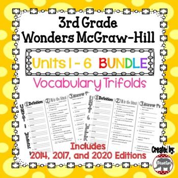 Wonders McGraw Hill 3rd Grade Vocabulary Trifold - Units 1-6 **Bundle**