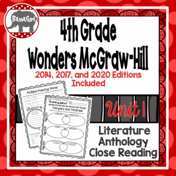 Wonders McGraw Hill 4th Grade Close Reading (Literature Anthology Book) - Unit 1