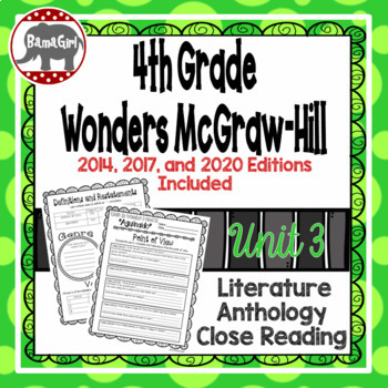 Wonders McGraw Hill 4th Grade Close Reading (Literature Anthology Book) - Unit 3